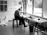 Hermann Moog im Atelier