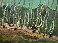 061 Birkenstämme, 1971, 60 x 93,5 cm