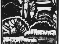 Waldstück, Linolschnitt