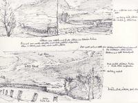 zwei Landschaftsskizzen mit Farbangaben