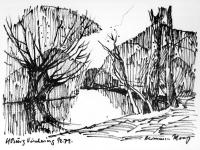 Spiegelungen am Ufer bei Burg Vischering, 01.02.1972