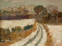 127 verschneiter Feldweg, 1972, 33 x 39,5 cm