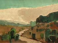 323 Heideweg mit Wacholder, 1968, 30,5 x 64 cm